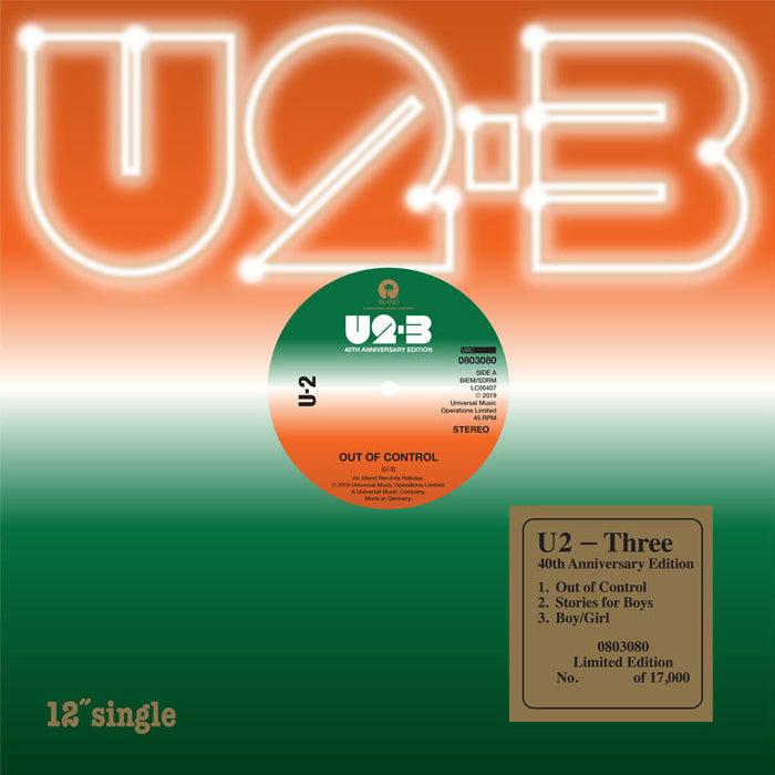 "U2 - Three (RSD Black Friday) Limited Edition Numbered 7"" Vinyl Record"