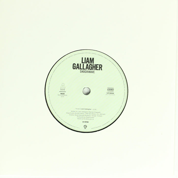 "Liam Gallagher ‎– Shockwave Limited Edition Etched 7"" Vinyl Record"