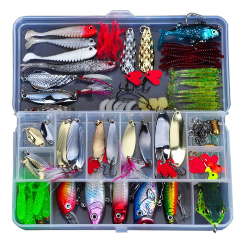 Fishing Lure Kit With Metal, Soft Bait, Plastic Lures, Wobblers & Frog Lure - The Gadget Scene
