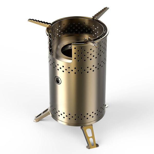 Portable Multi Fuel Stainless Steel Wood Burning Camping Stove - The Gadget Scene