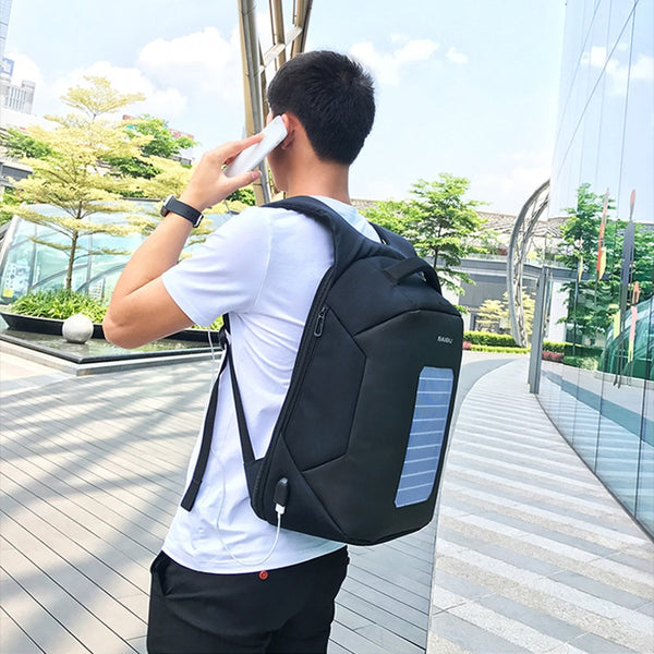 Men Solar Powered Usb Charging Anti-Theft 15.6'' Waterproof Laptop Backpack - The Gadget Scene