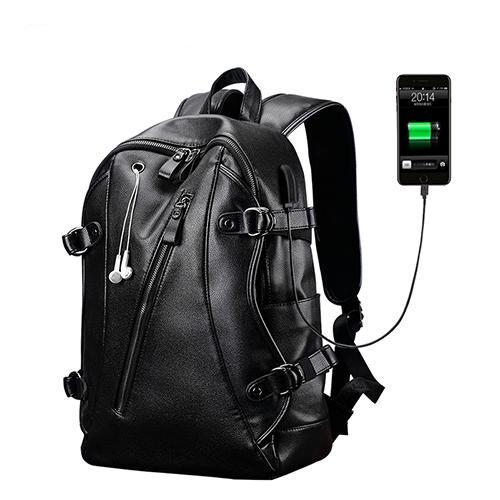 USB Charge, Anti-Theft, PU Leather Backpack