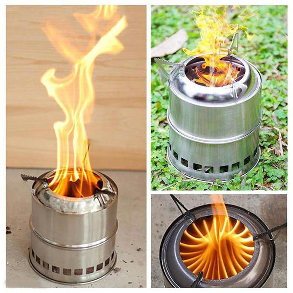 Portable Fuel Furnace Burner Stainless Steel Folding Wood Stove - The Gadget Scene
