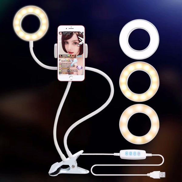 Selfie Ring Light with Lazy Bracket For Live Stream Cell Phone Holder Clamp - The Gadget Scene