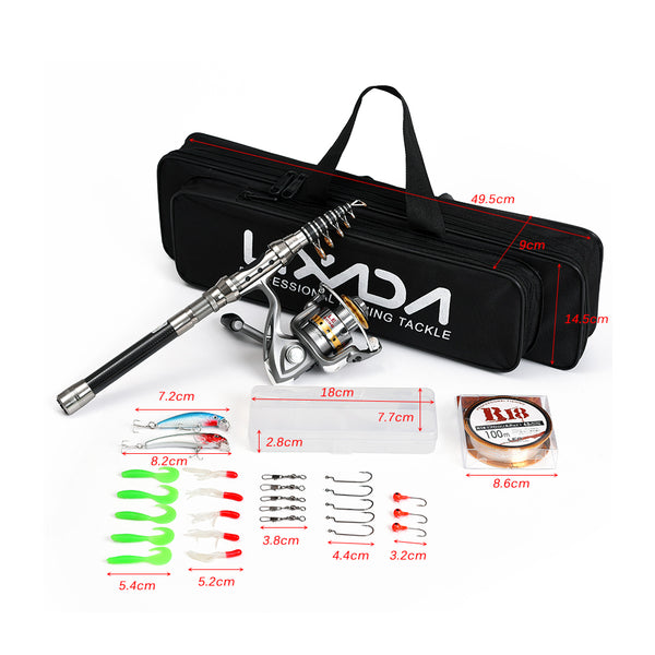 Lixada Telescopic Fishing Rod Reel Combo Full Kit - The Gadget Scene