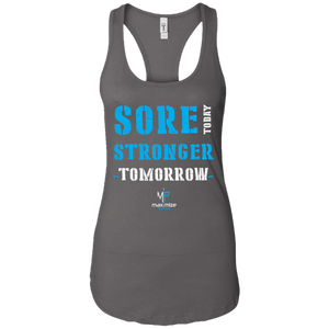 Sore Today Stronger Tomorrow Ladies Racerback