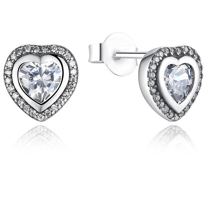 925 Sterling Silver Pandora compatible  Love Heart Stud Earrings