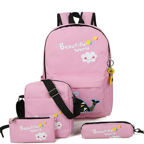 Printing Backpacks 6pcs/set carton School Bags For Teenagers Girls Cute School Bag Lady Bookbag Travel bag fashion