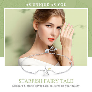 Romantic Genuine 925 Sterling Silver Starfish Fairy Tale Women Chain Link Bracelet Luxury Sterling Silver Jewelry