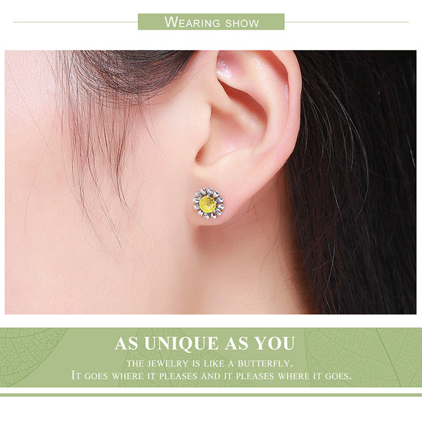 New Trendy 925 Sterling Silver Pandora compatible  Daisy Flower Stud Earrings for Women Fine Silver Jewelry Birthday Gift