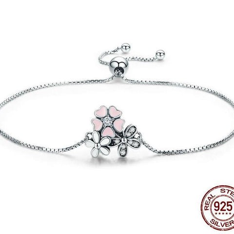 New 100% 925 Sterling Silver Cherry Daisy Flower Chain Link Women Bracelet Sterling Silver Jewelry Gift