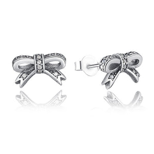 High Quality 925 Sterling Silver Sparkling Bow Stud Earrings With Gold Color For Women Authentic Original Jewelry Gift XCHS418