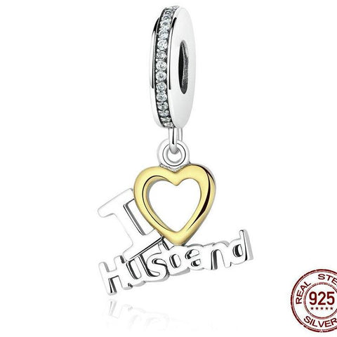 "2018 New 100% 925 Sterling Silver Pandora compatible ""I LOVE Husband"" Dangle Charm Fit Original WST Bracelet Authentic Jewelry"