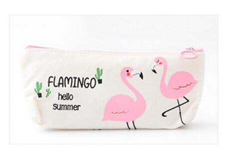 Fresh Pink Flamingo Canvas Pencil Case