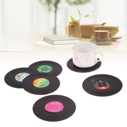 6Pcs/set Retro Vinyl Drink Coasters Table Cup Mat Home Decor