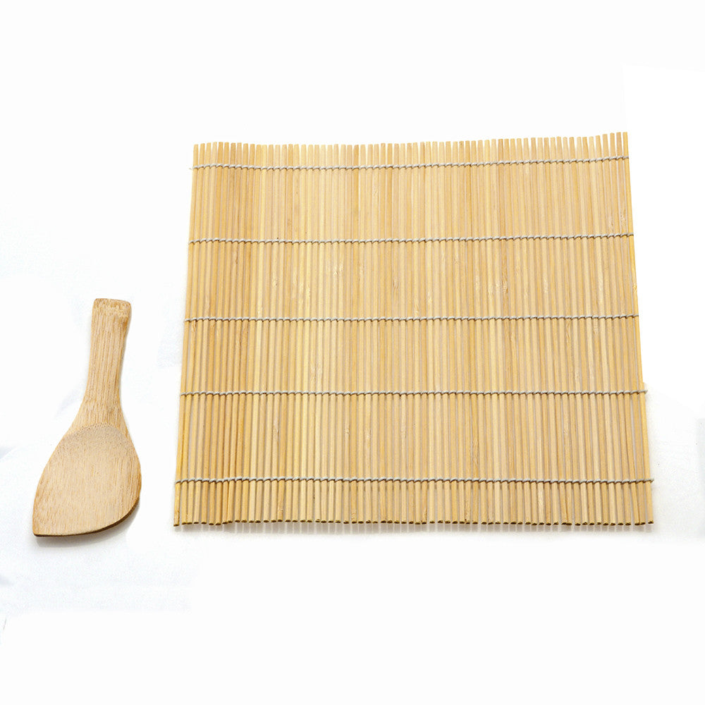Sushi Making Tool Sushi Rolling Bamboo Material Mat with Bamboo Spoon Rice Paddle Sushi Roller Pad Kitchen Accessories