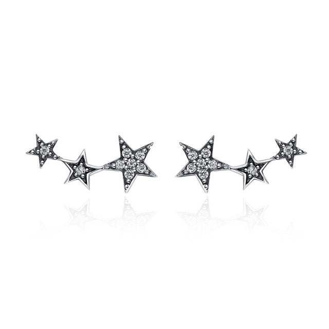 Authentic 925 Sterling Silver Gold Color Sparking Stackable Star Stud Earrings For Women Luxury Jewelry Bijoux