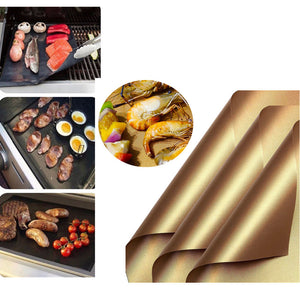 Nonstick Reusable Kitchen Copper Chef Grill and Bake Mats Outdoor BBQ Pad (Golden)