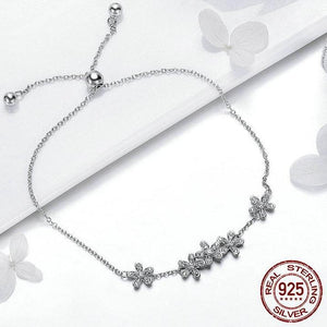 Genuine 925 Sterling Silver Luminous Daisy Flower Women   Bracelet Jewelry