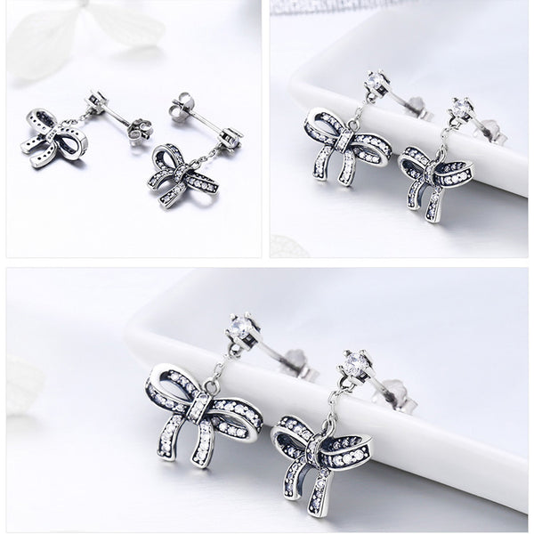 925 Sterling Silver Lovely Bowknot Drop Earrings With Clear  For Women Original Authentic Luxury Fashion Jewelry