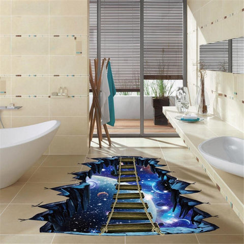 Large 3D Cosmic Space Floor Wall Stickers
