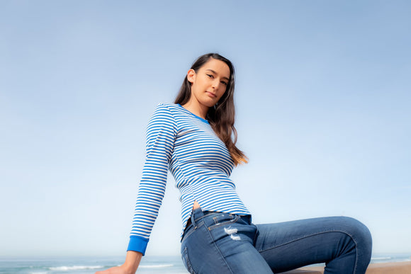 Long sleeve shimmer strip tee - Acqua Azul