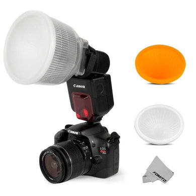 Fomito Universal Cloud Lambency Flash Diffuser + Cover White & Orange Set for Flash Speedlite