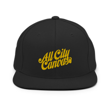 Load image into Gallery viewer, Classic Black Snapback with a gold coloured embroidery
