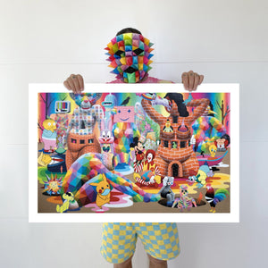 "man holding the Limited edition ""Quarantine Dreams"" digital print on fine art paper"