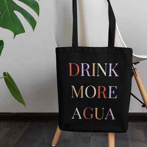 Drink More Agua black tote back with black handles