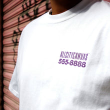 Load image into Gallery viewer, white round neck t-shirt and purple letters