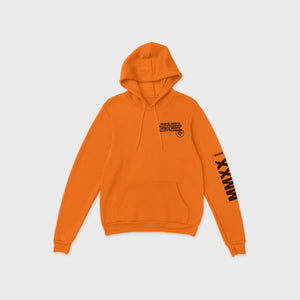 fluorescent orange sweatshirt