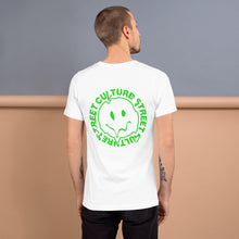 Load image into Gallery viewer, Green happy face drip tshirt back