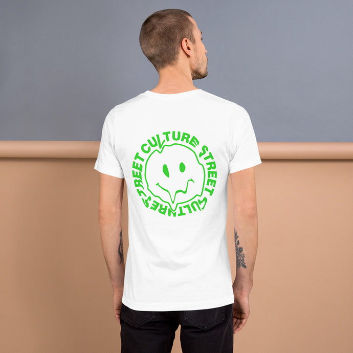 Green happy face drip tshirt back