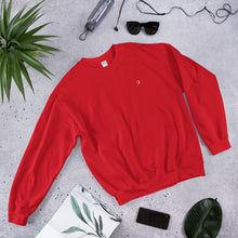 Load image into Gallery viewer, red crew neck long-sleeve sweatshirt and printed design