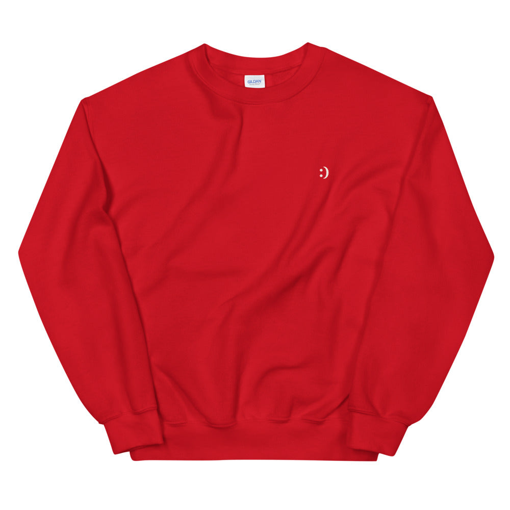 red crew neck long-sleeve sweatshirt and printed design