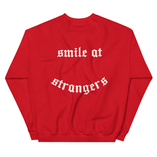 red crew neck long-sleeve sweatshirt and printed design in white