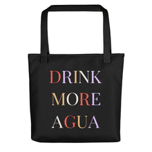 Load image into Gallery viewer, Drink More Agua black tote back with black handles
