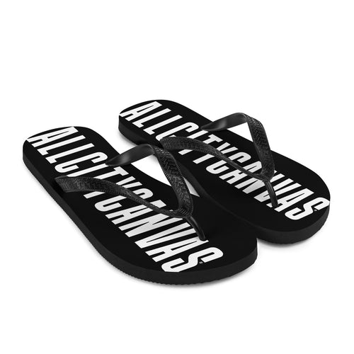 black flip flops and printed design in white