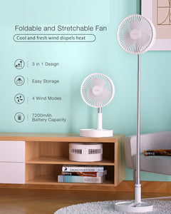 3 In 1 Foldable CHARGABLE 7200mAh Battery Stretchable Fan Ultra Compact Pedestal Fan