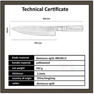 Japanese Damascus 67 Layers Steel Damascus Chef Knife VG-10 Blade Damascus Kitchen Knives Pakka Handle PRO Chef Knife