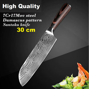 High quality Chef Knives Set Imitation Damascus steel Santoku kitchen Knives Sharp Cleaver Slicing Knives Gift Knife