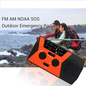 RETEKESS HR12W FM AM NOAA SOS Portable Emergency Radio Waterproof LED Lighting Hand Crank Solar Radio Receiver For Camping