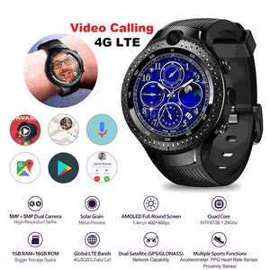 "SmartWatch 4G LTE Sim Card/GPS/GLONASS/16 GB  5.0MP+5.0MP Dual Camera Android Watch 1.4"" AOMLED Display"