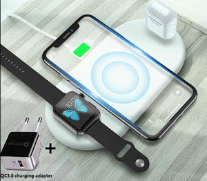QI Wireless Chargers 3 in 1 For iPhone AirPods iWatch Samsung