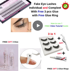 Natural Fake Eye Lashes 60pcs 8/10/12/14mm Makeup Individual and Compleet Cluster Eye Lashes Glue 2ml, eyelash tweezers, eyelash adhesive