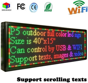 "Full-Color LED  programmable led sign 40""X15"" outdoor HD ad RGB led display for business/store"