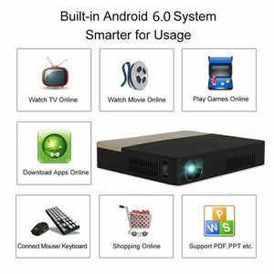 Home Theater Projector 8500 Lumens Mini Android DLP 1080P HD 4K 3D Wifi Home Cinema Projector HDMI DVD