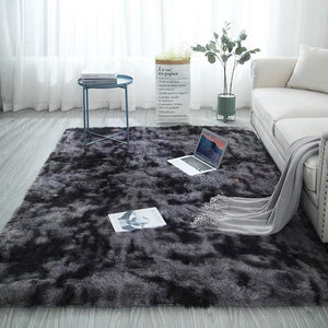 Modern Home Rug Tie Dyeing Plush Soft Carpet For Living Room Bedroom Anti-slip Floor Mats Bedroom Water Absorption Carpet Rugs