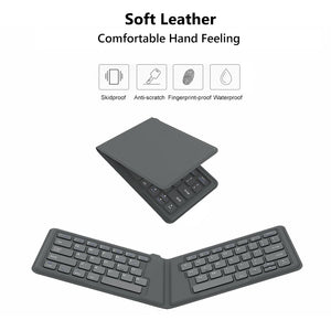 AVATTO A20 Portable Leather folding Mini Bluetooth Keyboard Foldable Wireless Keypad for iphone,android phone,Tablet,ipad,PC